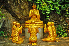 Buddha and Monks in Meditation Royalty Free Stock Photo
