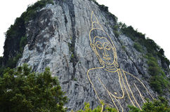 Buddha Mountain called Khao Cheejan or Khao Chee Chan Stock Image