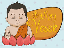 Buddha with Mudrakhya Gesture and Vesak Sign in Lotus, Vector Illustration Royalty Free Stock Photography