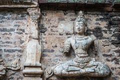 Buddha na ścianie pagoda Fotografia Royalty Free
