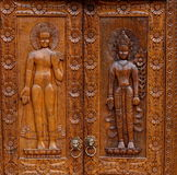 Buddha, native Thai style wood carving Stock Image