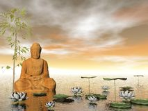 Buddha in nature - 3D render Royalty Free Stock Image