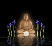 Buddha nel giardino di zen Fotografie Stock Libere da Diritti