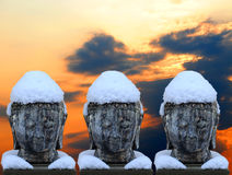 Buddha nella neve Fotografia Stock