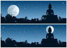 Buddha Night. Buddha statue in the jungle at night. 2 different versions. No transparency used. Basic (linear) gradients used Stock Image