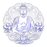 Buddha in nirvana. Buddha sitting in the lotus position with an illuminated face on the background of the mandala Royalty Free Stock Photography