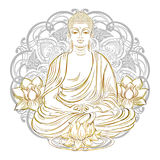 Buddha in nirvana. Buddha sitting in the lotus position with an illuminated face on the background of the mandala Royalty Free Stock Image