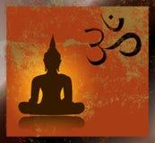 Buddha och om-symbol Arkivfoto