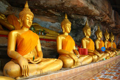 Buddha On Stone Background In Cave Royalty Free Stock Images