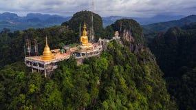 Buddha On The Top Mountain Of Wat Tham Seua Tiger Cae , Krabi, Royalty Free Stock Photography