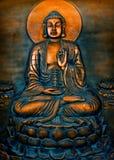 Buddha, Orange. Buddha plate in gold, black, and green Stock Image