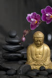 Buddha with Orchid Royalty Free Stock Photography