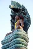 Buddha Overspread naga. The buddha attitude of meditation Overspread patina naga in Thailand Stock Images
