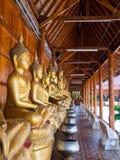 Buddha på modelldetaljen av teakträguld Arkivbilder