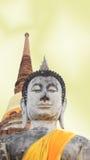 Buddha på stupabakgrund Arkivfoto