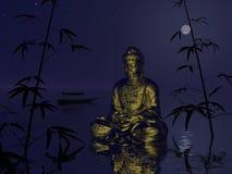 Buddha på vattnet - 3d framför Arkivbilder