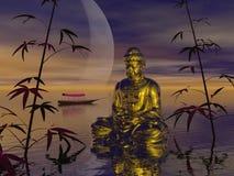 Buddha på vattnet - 3d framför Arkivbild