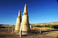 Buddha pagoda out of mogao grottoes Royalty Free Stock Photography