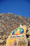 Buddha Painting on the mountain, Drepung Monastery Royalty Free Stock Photo