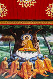 Buddha painting on temple. Painting depicting Buddha with followers in a Temple in Chiang Mai Stock Images