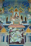 Buddha painting on wall in temple. Painting on church wall,thai temple, Samut Songkhram Province,Thailand Stock Photo