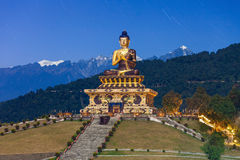 Buddha Park, Ravangla. The Buddha Park of Ravangla at night, it is situated near Rabong in South Sikkim district, Sikkim, India Stock Image