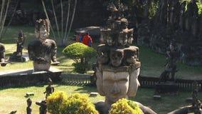 Buddha Park in Vientiane, Laos stock video