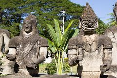 Buddha Park & x28;Wat Xieng Khuan& x29; is a famous sculpture park with more than 200 religious statues. Buddha Park & x28;Wat Xieng Khuan& x29; is a famous stock photo