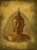 Buddha picture in antique paper. Picture of Buddha in old grunge antique paper Royalty Free Stock Photography