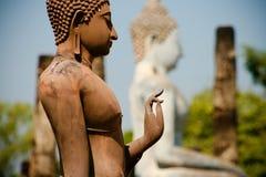 buddha plattform sukhotai thailand Arkivbilder