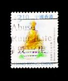 Buddha at Po-Lin monastery, Hong Kong Scenery and Landmarks serie, circa 1999. MOSCOW, RUSSIA - JANUARY 2, 2018: A stamp printed in Hong Kong shows Buddha at Po Royalty Free Stock Photo