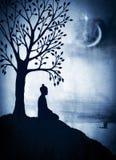 Buddha pod Bodhi drzewem Obraz Stock