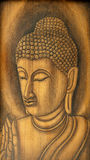 Buddha Portrait. Made by wood burning technique Royalty Free Stock Photos
