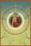 Buddha poster. Vector illustration of Buddha meditating in air Stock Photo