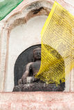 Buddha and Prayer Flag Royalty Free Stock Photography