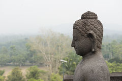Buddha profile in Buddhist temple of Borobudur, Java Stock Images