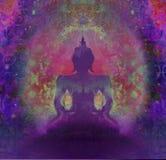 Buddha przeciw Ciemnemu purpurowemu tłu ilustracji