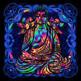 Buddha is a psychedelic painting. The Lord Buddha is a psychedelic painting in a retro style. Popular vintage graphics postcard and posters from the 1960s to the vector illustration