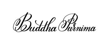 Buddha Purnima hand written lettering inscription to indian spri. Ng holiday celebrate may 10, calligraphy vector illustration isolated on white background Stock Photos