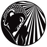 Buddha Raised Hand with Light Rays Circle Black and White vector   Stock Image