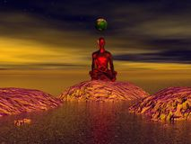Buddha red and mountains Royalty Free Stock Images