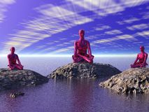 Buddha red and mountains Stock Images