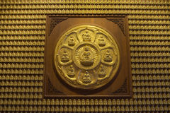 Buddha-Reihe auf der Wand Wat-Leng-Noei-Yi2 im Tempel, Thailand Lizenzfreies Stockfoto