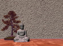 Buddha in a room - 3D render Stock Photo