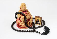 Buddha, rosaries and icon Royalty Free Stock Photo
