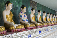 Buddha row. A row of Buddha Temple Terrace The story of meditation and peaceful Stock Image