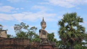 Buddha on the ruins of the ancient Buddhist temple Wat Mae Chon. Sukhothai