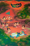 Buddha's biography: Prepare to ordian. Prince Siddhattha shaving off his hair near the river. The horse Kanthaka is lying with sorrow after Siddhattha decide to Royalty Free Stock Photos