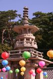 Buddha's Birthday. A pagoda is lined with Japanese lanterns for the celebration of Buddha's birthday Stock Photography
