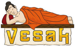 Buddha`s Body Laid Down with Scroll for Vesak, Vector Illustration Stock Photo